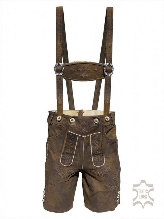Herren Trachten Lederhose mit Träger,aus wildbuckleder, moor-antik speckig, karl