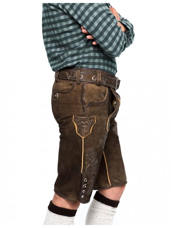 Herren Trachten lederhose Kurz mit Gürtel, Weißkugel, Speckig Walnussantik