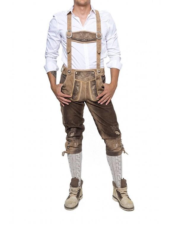 Herren Trachten Lederhose mit Träger, Echtes Leder, Kniebund, Oktoberfest